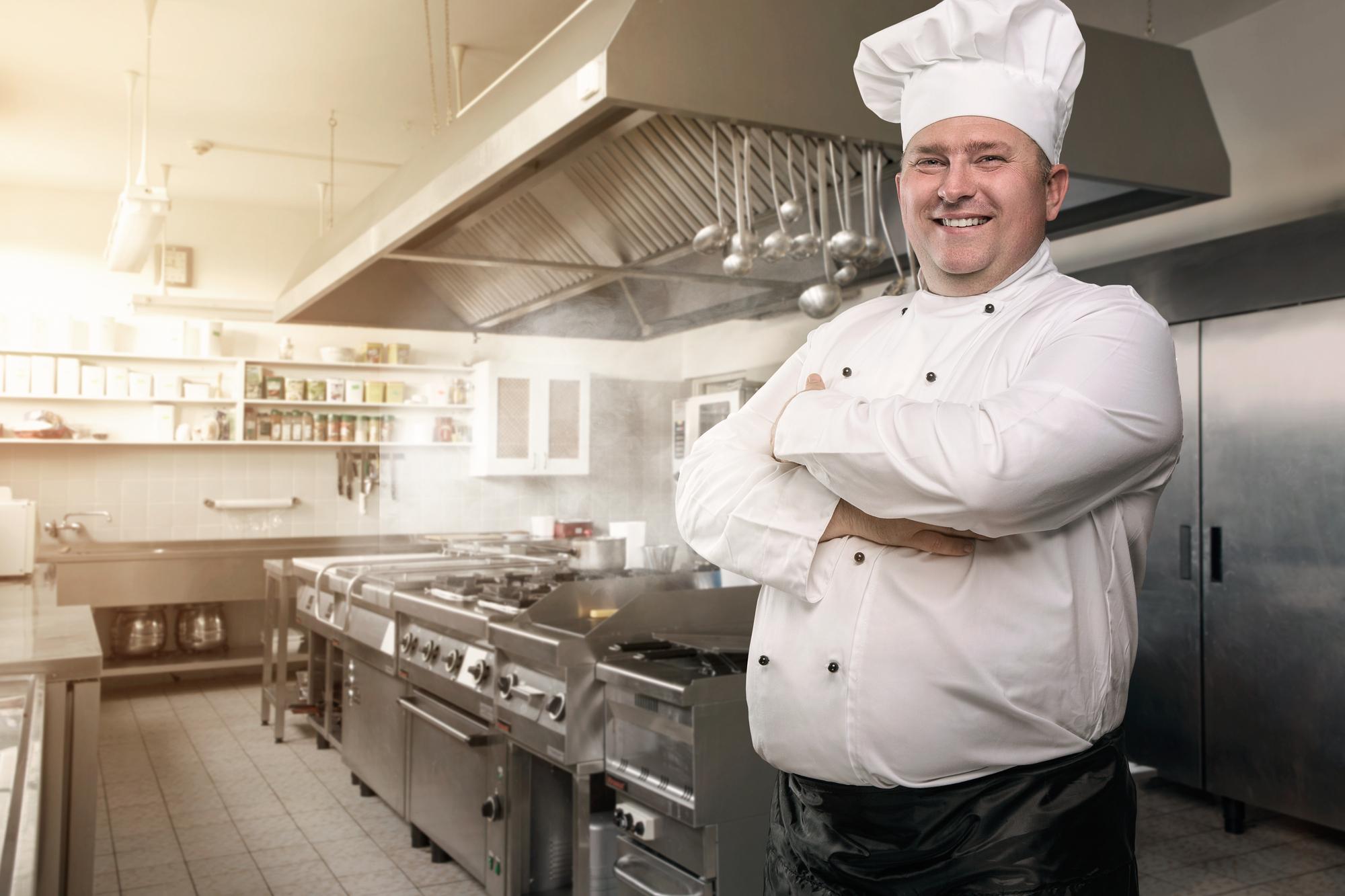 Happy Chef In His Kitchen